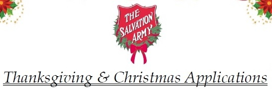 Salvation Army Thanksgiving/Christmas Assistance Applications