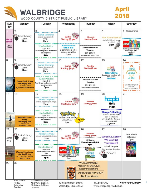 Walbridge Library April Calendar
