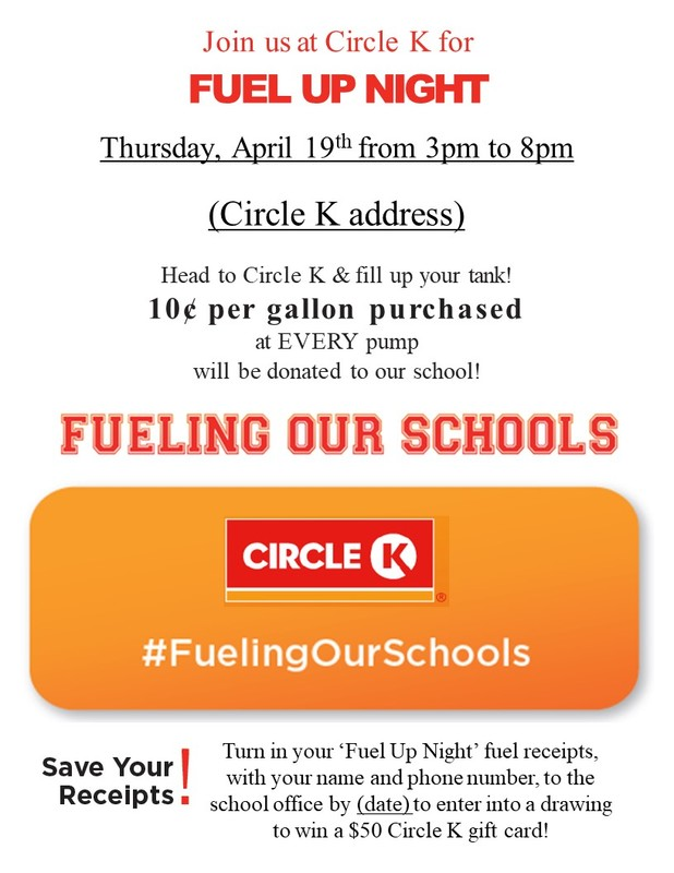 Circle K Fuel Up Night Fund Raiser!