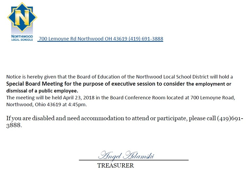 Special Board Meeting: April 23rd.