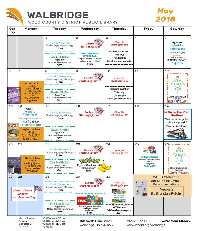 Walbridge Library May Calendar